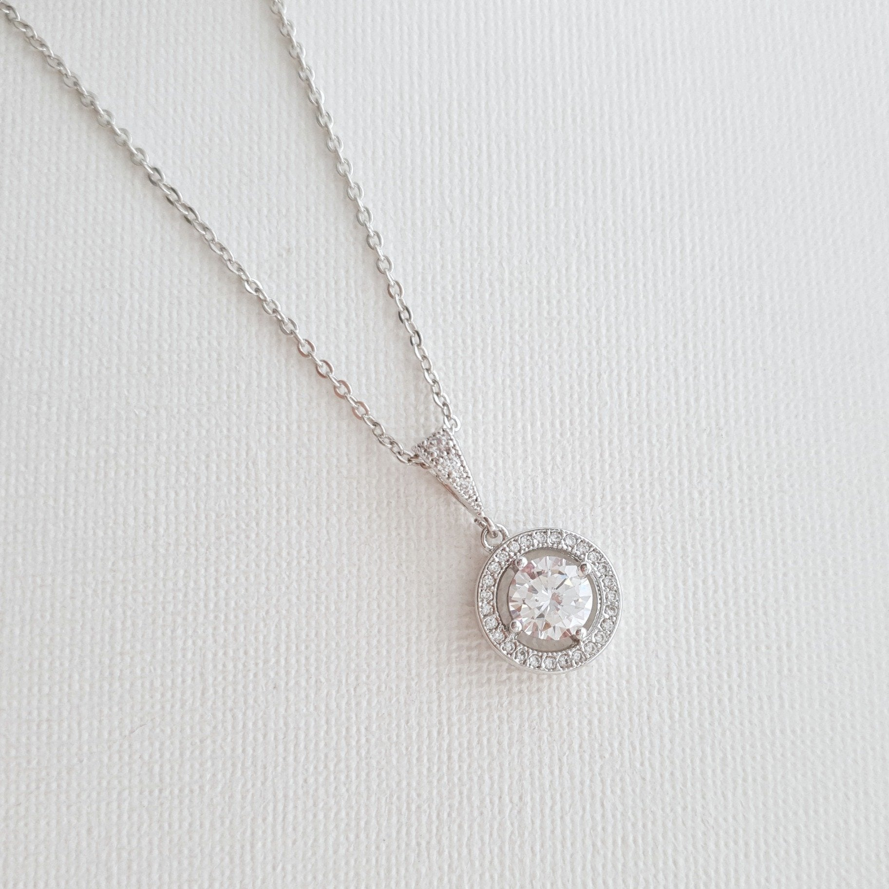 Circle Pendant Necklace in Solid Cubic Zirconia- Denise - PoetryDesigns