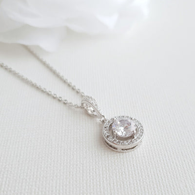 Circle Pendant Necklace in Solid Cubic Zirconia- Denise
