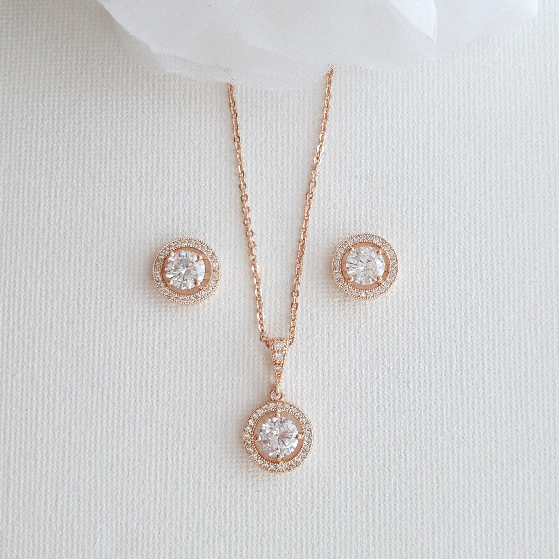 Rose Gold Wedding Day Jewelry Set- Denise