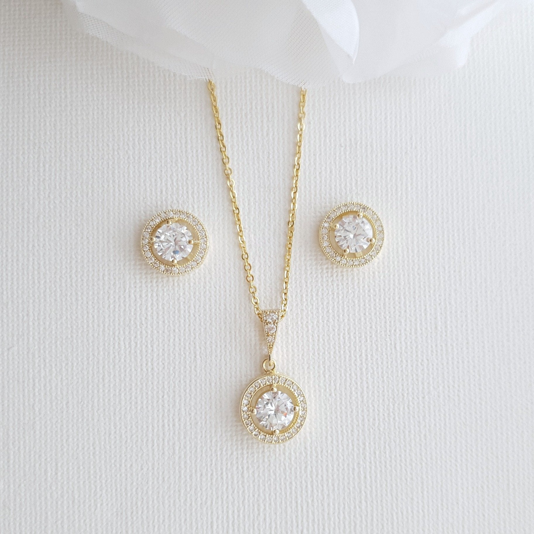 Bridal and Bridesmaids 14k Gold Jewelry Set-Denise - PoetryDesigns