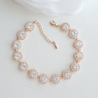 Wedding Bracelet for Brides in Round Cubic Zirconia Crystals-Cristle
