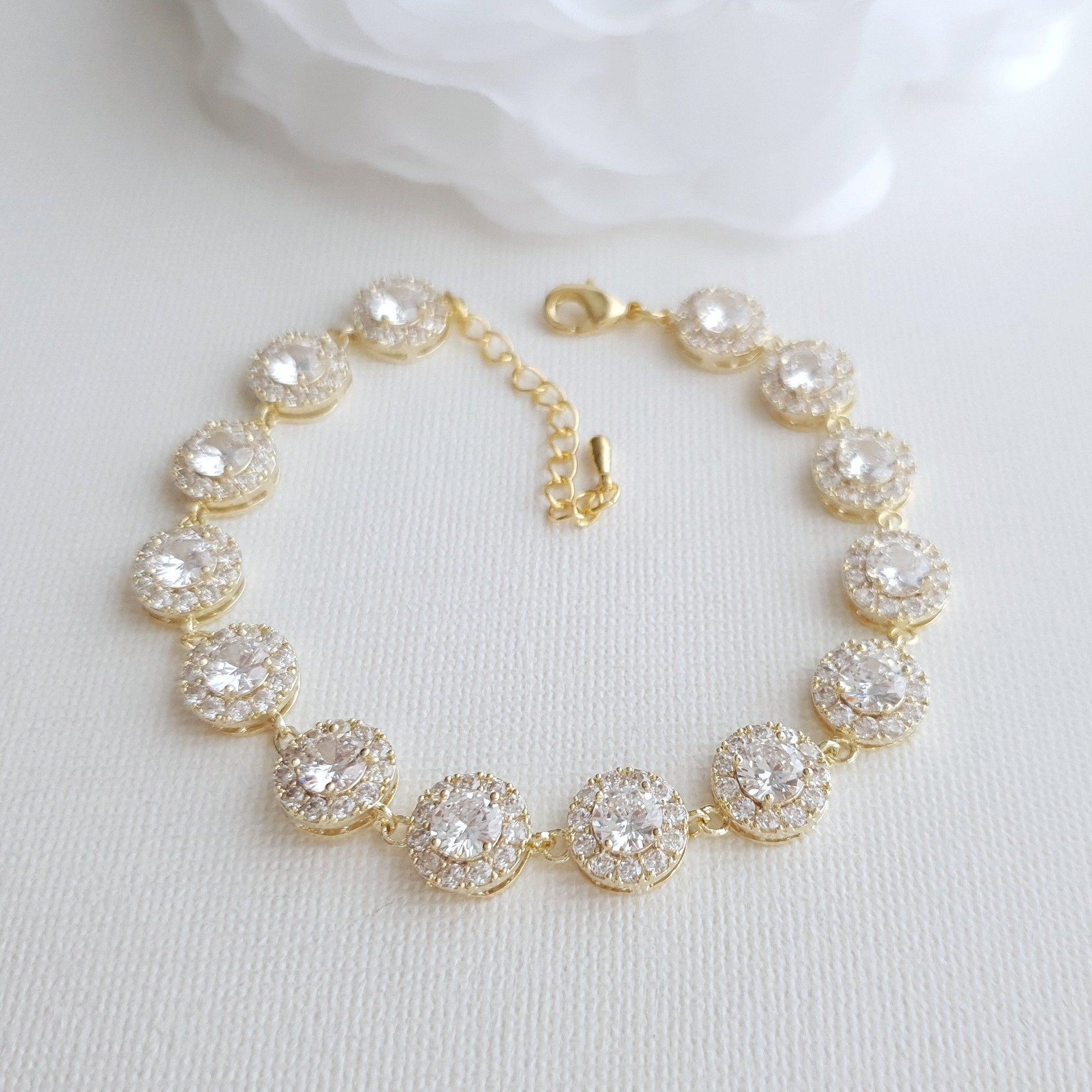 Gold Bridal Bracelet for Weddings in Round Cubic Zirconia -Cristle - PoetryDesigns