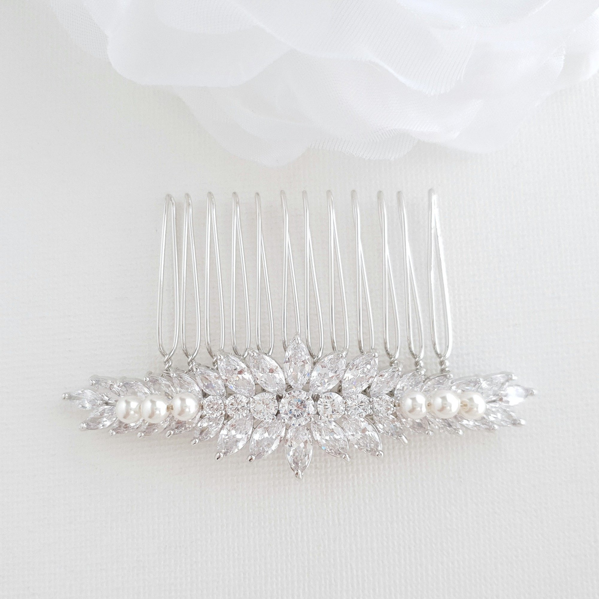 Crystal Wedding Hair Piece for Brides-Giselle - PoetryDesigns
