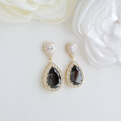 Rose Gold and Black Earrings-Zoe