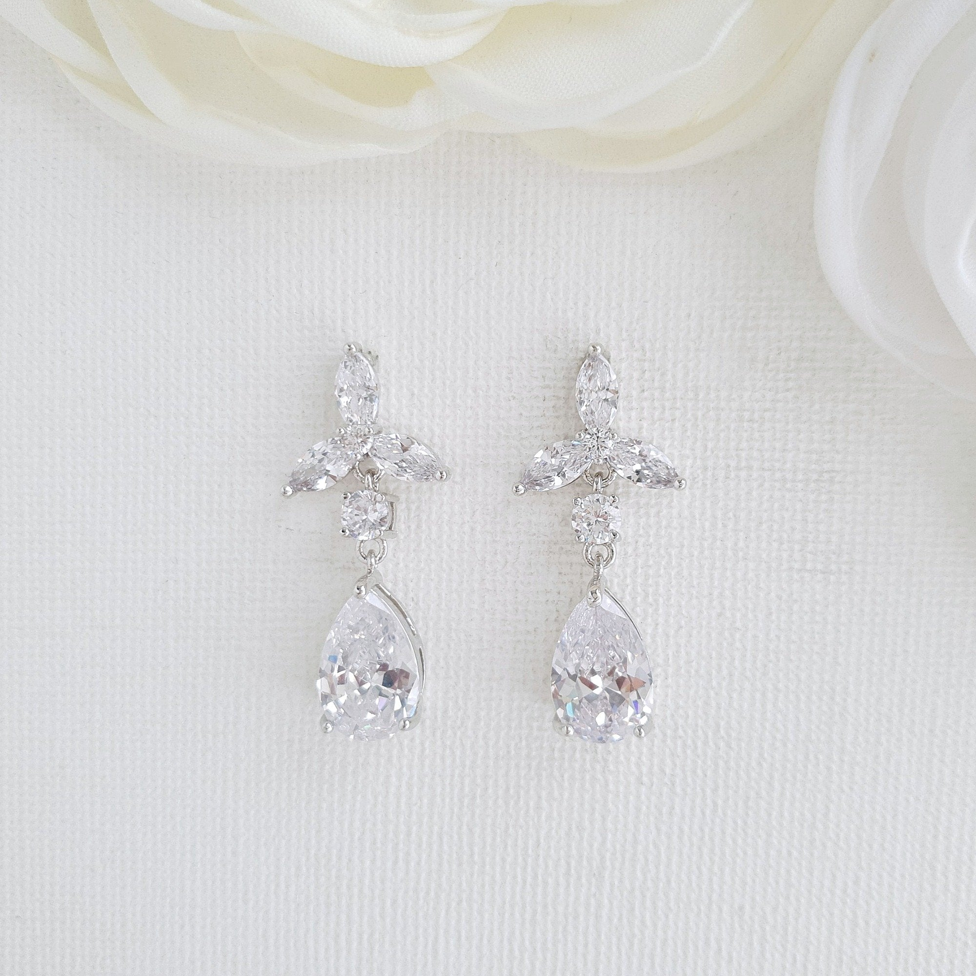 Floral Bridal Earrings-Flora