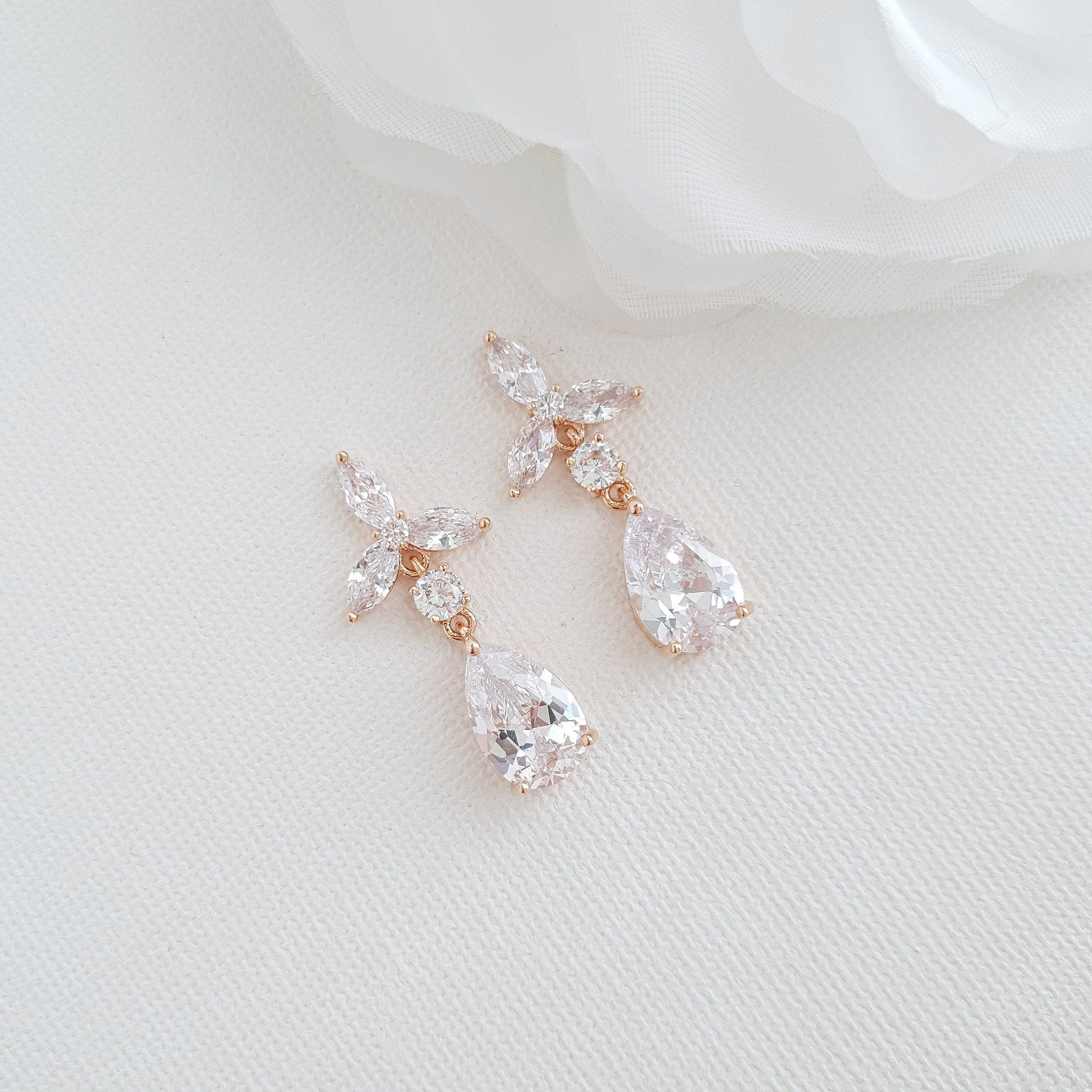 Rose Gold Flower Drop Earrings-Flora