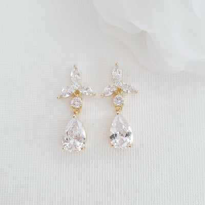 Gold Flower Drop Earrings In Crystals-Flora