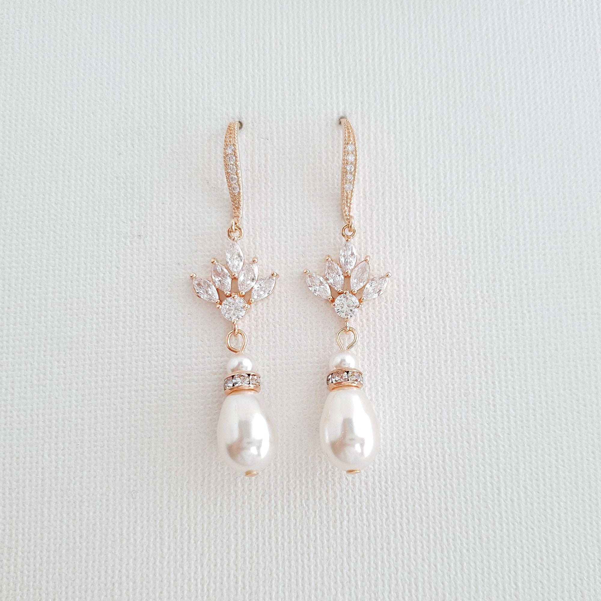 Rose Gold Pearl Drop Dangle Earrings for Weddings-Rosa