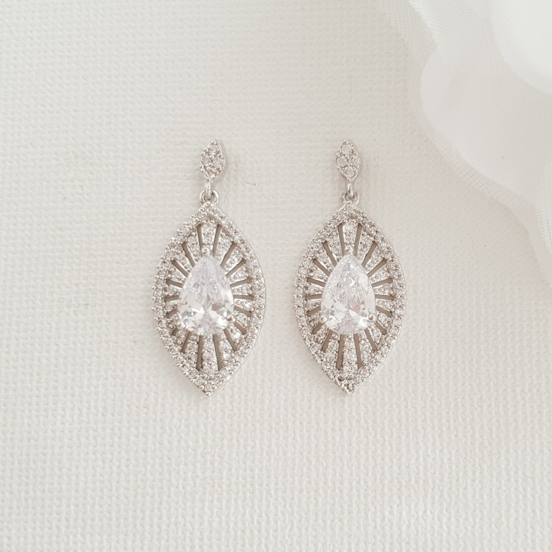Short Drop Bridal Earrings-Zoey