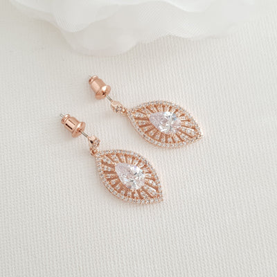 Gold Short Drop Earrings-Zoey