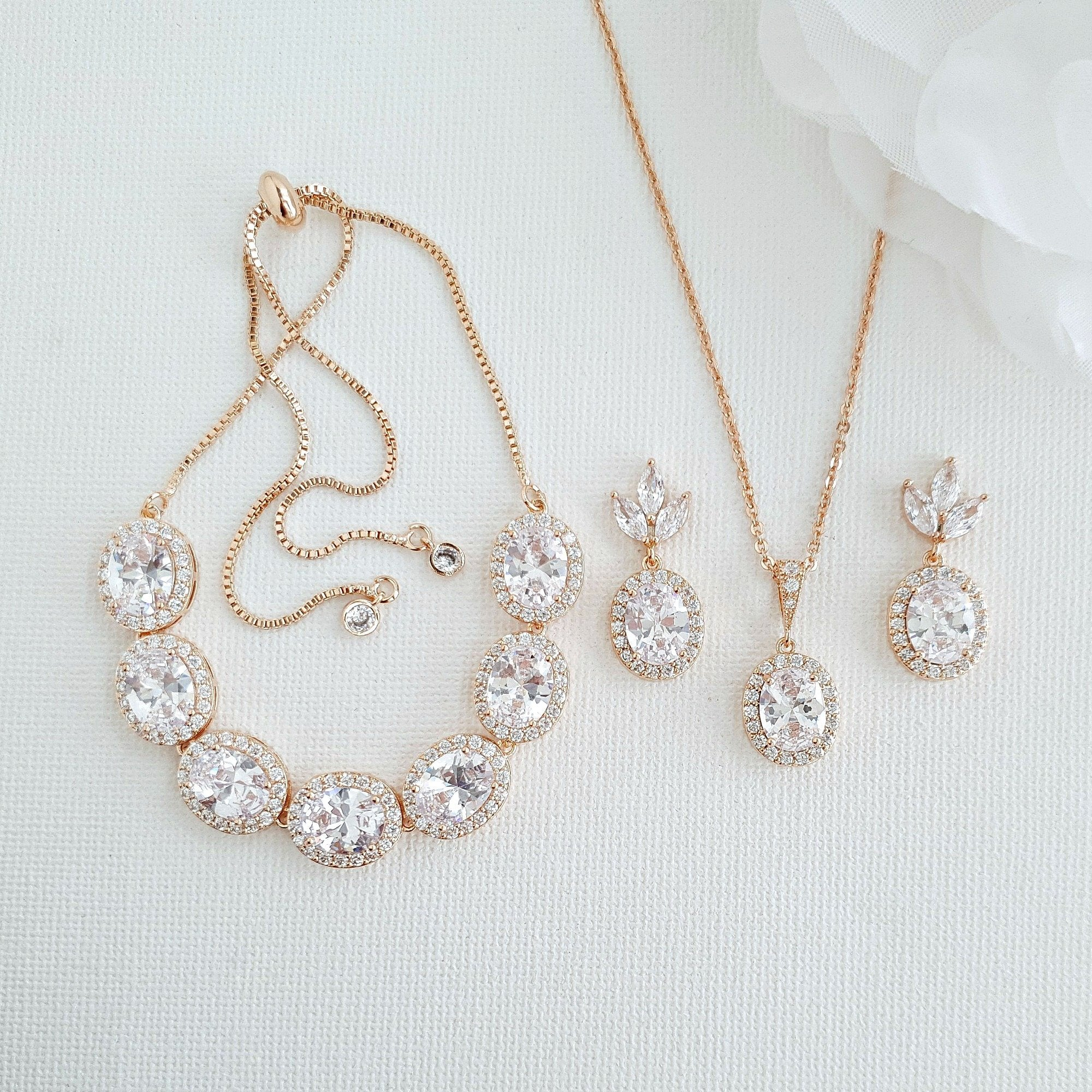 14K Gold Plated Oval Wedding Jewelry Set-Emily - PoetryDesigns