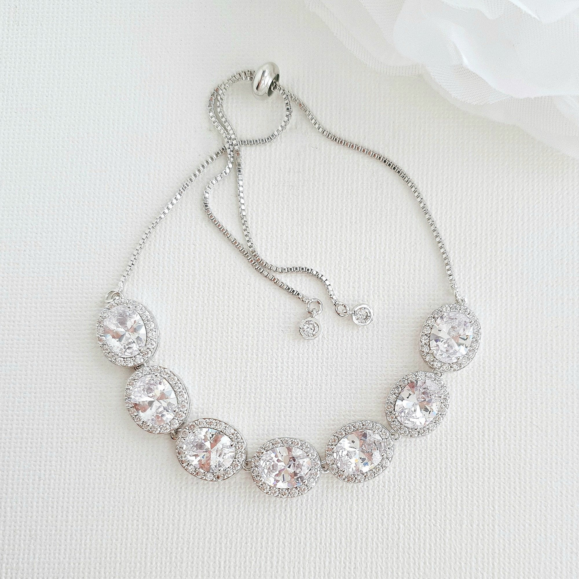 Silver and Crystal Bracelet for Weddings- Emily - PoetryDesigns