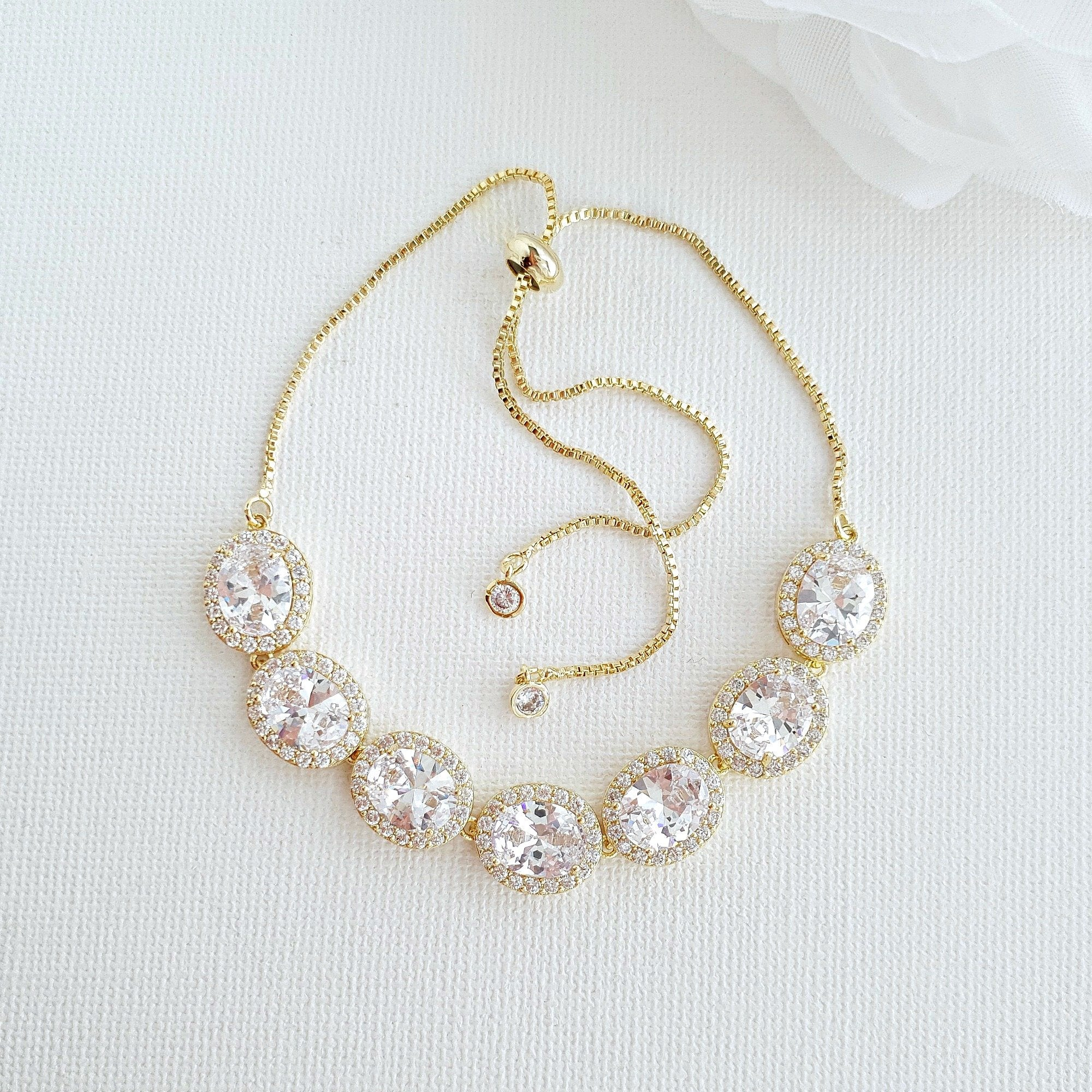 Gold and Cubic Zirconia Bridal Bracelet- Emily - PoetryDesigns