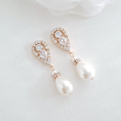 Gold Pearl Earrings-Cera