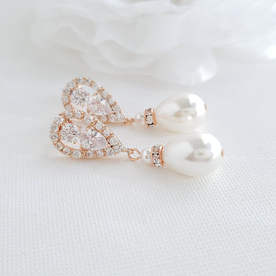 Rose Gold Pearl Drop Earrings-Cera