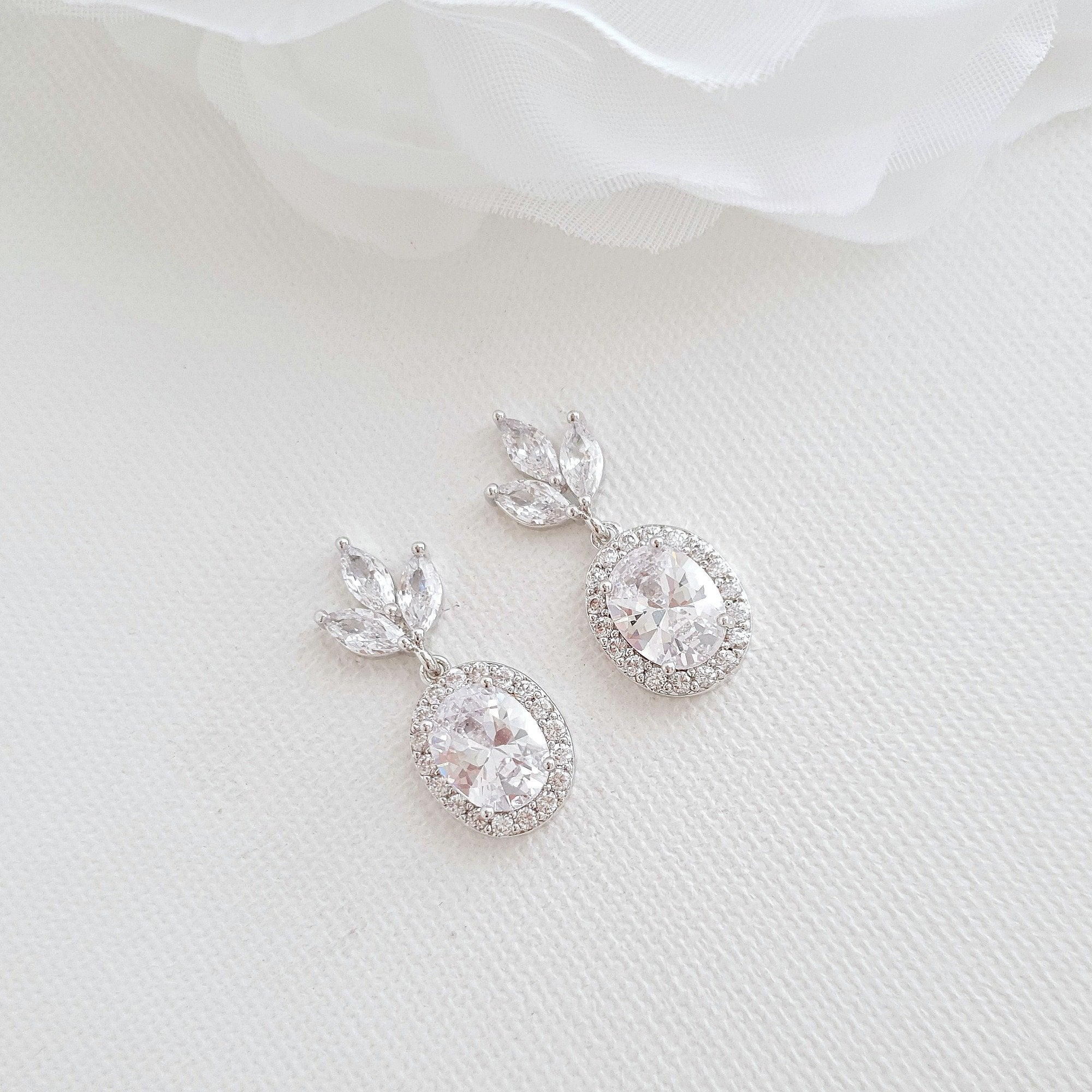 Small Bridesmaids Earrings in Silver- Emily - PoetryDesigns