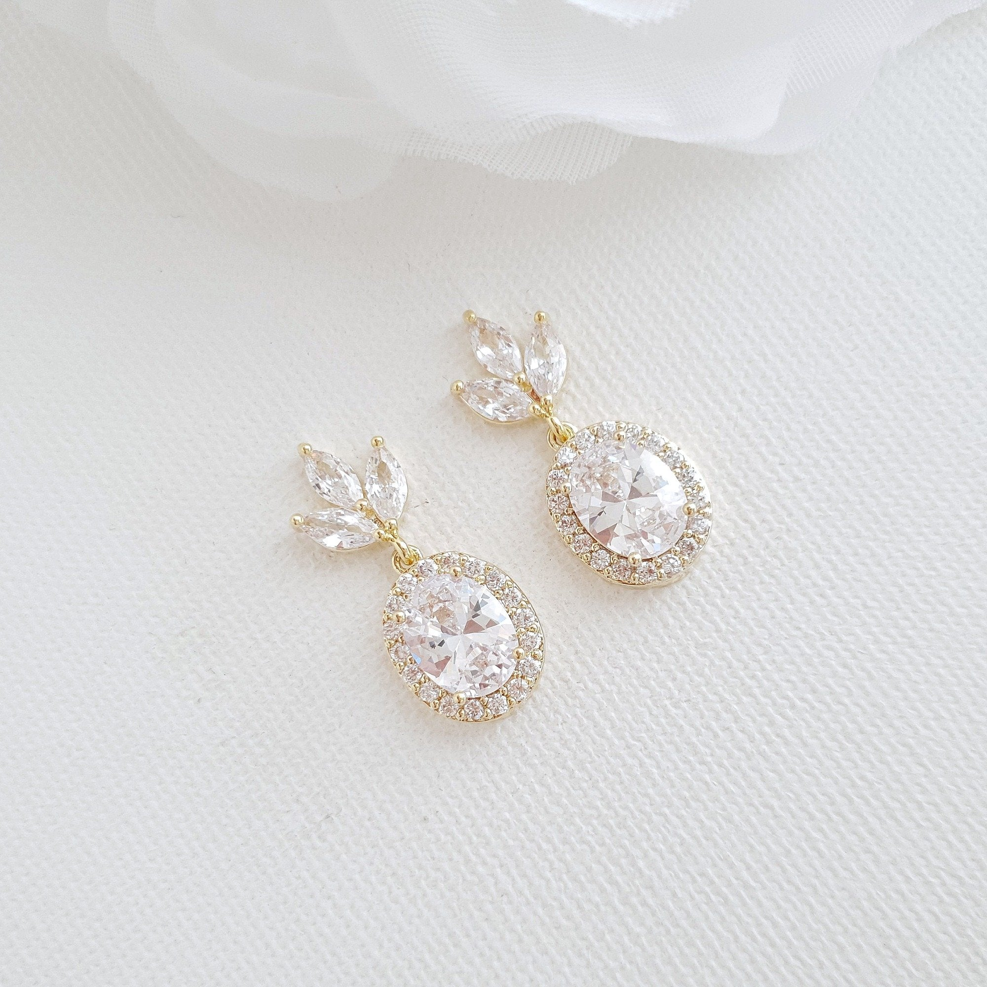 Small Wedding Earrings in Gold- Emily - PoetryDesigns