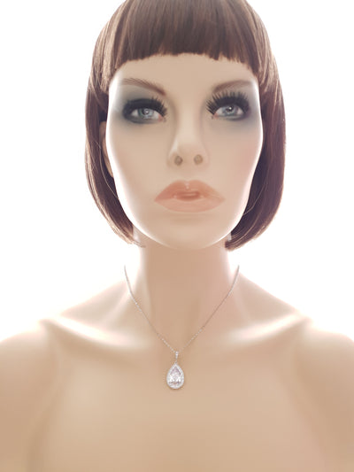 Silver Plated Teardrop Wedding Necklace for Bridesmaids and Brides-Evelyn