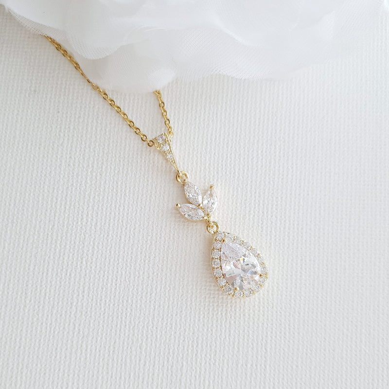 Bridal Drop Necklace In Cubic Zirconia- Lotus