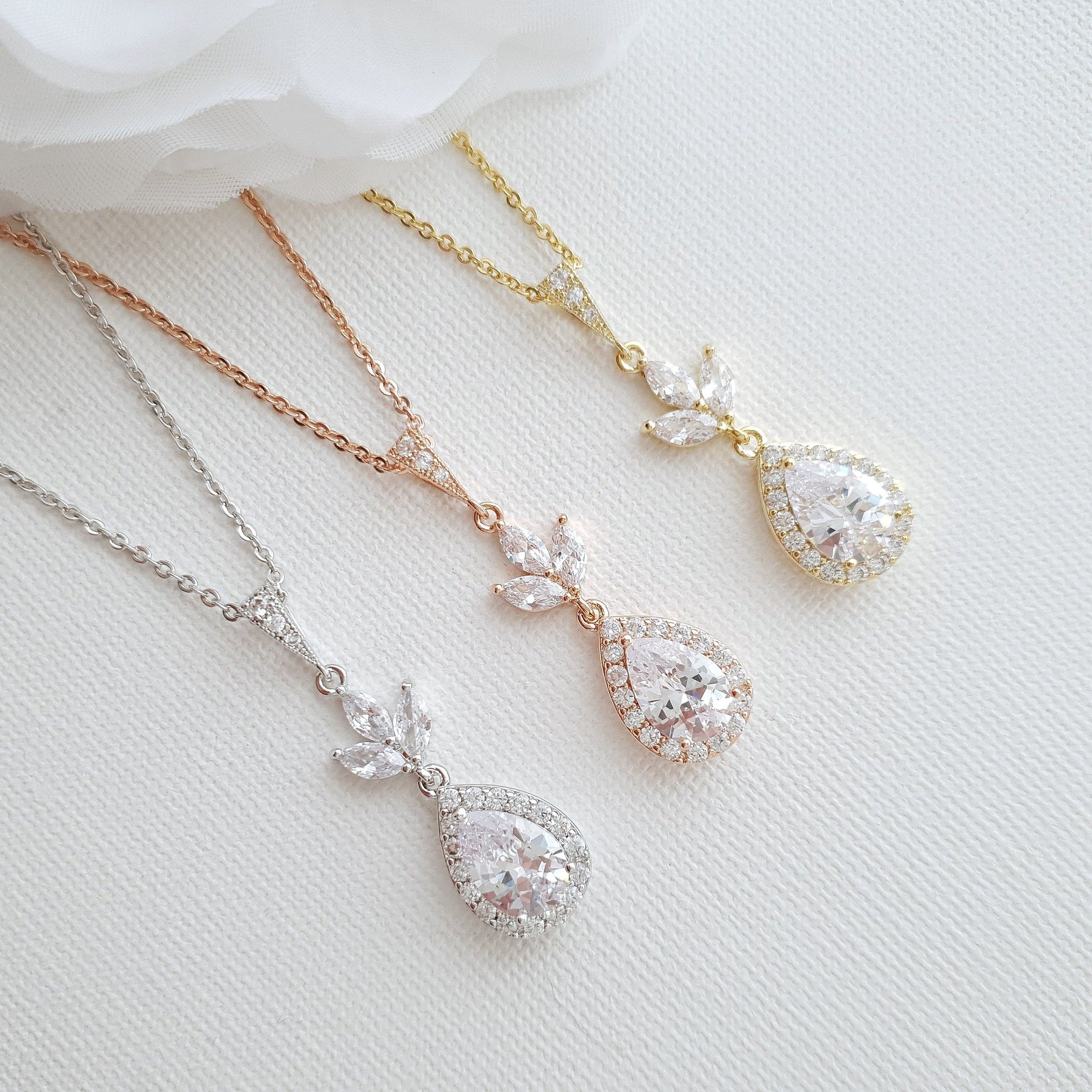 Bridal Drop Necklace In Cubic Zirconia- Lotus - PoetryDesigns