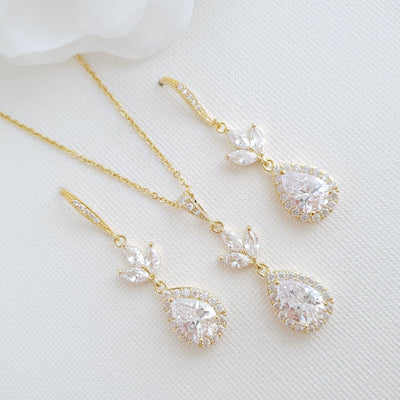 14K Yellow Gold Necklace and Earrings Set for Brides-Lotus