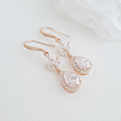 Bridal & Wedding Ear Hook Earrings in Rose Gold for Brides- Lotus