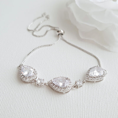 Rose Gold Bridesmaids Bracelet in Cubic Zirconia- Emma