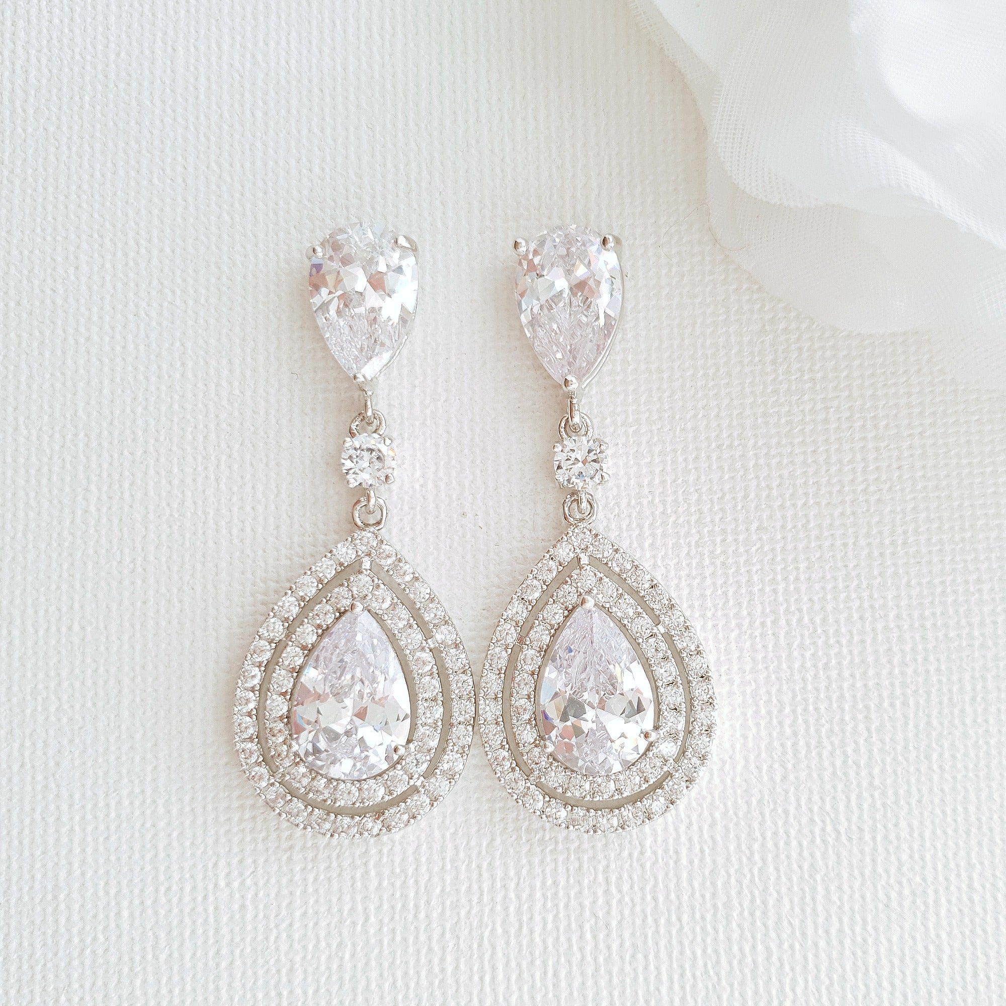 Pear Shaped Cubic Zirconia Drop Earrings for Brides- Joni
