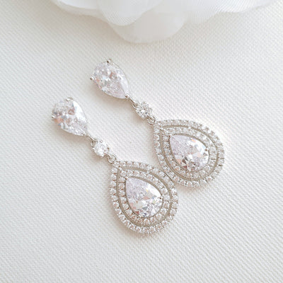 Gold Teardrop Earrings for Weddings- Joni