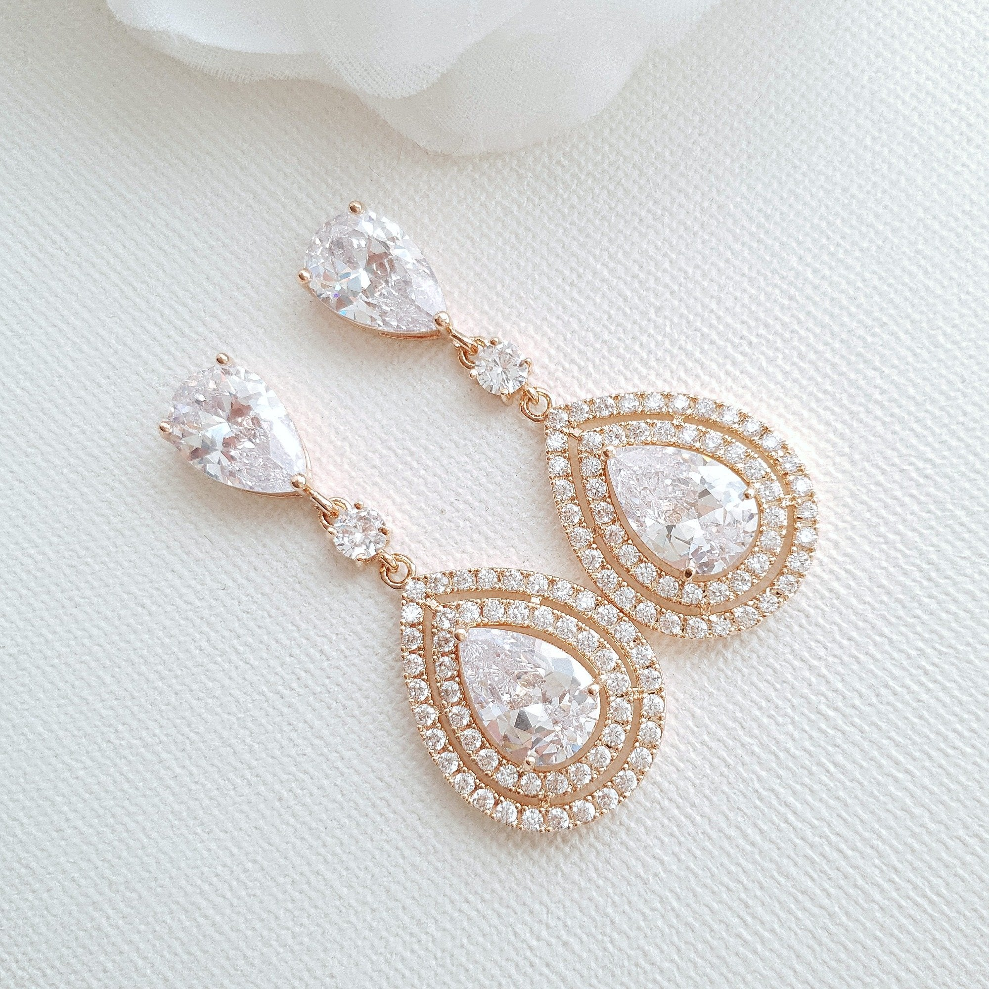 Rose Gold Wedding Earrings With Teardrops- Joni - PoetryDesigns