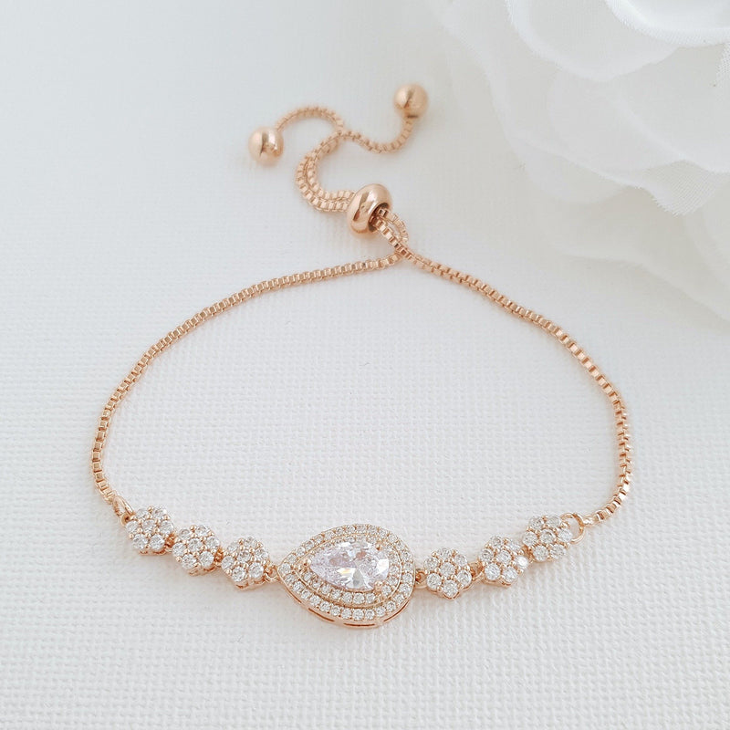 Gold Slider Clasp Wedding Bracelet- Joni