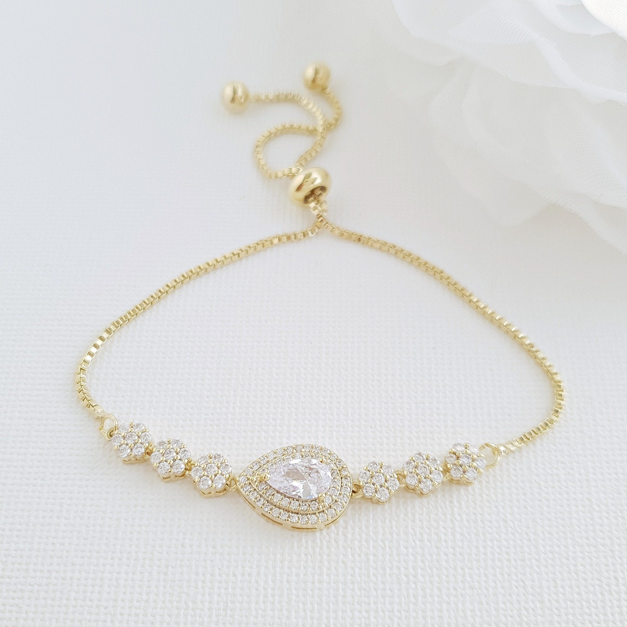 Gold Slider Clasp Wedding Bracelet- Joni - PoetryDesigns