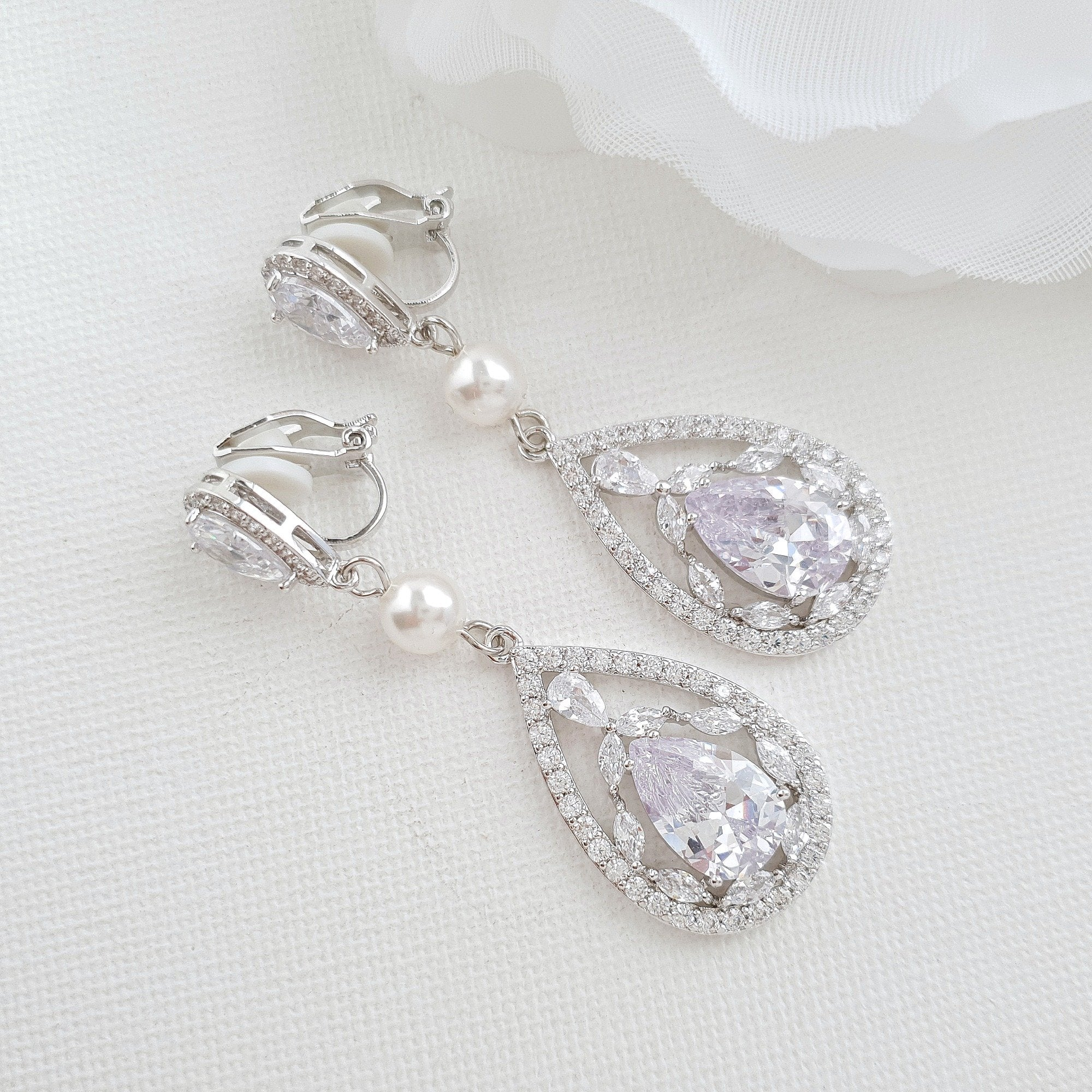 Rose Gold clip on wedding earrings- Poetry Designs