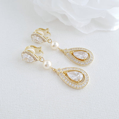 CZ Clip On Bridal Earrings in Rose Gold - Sarah
