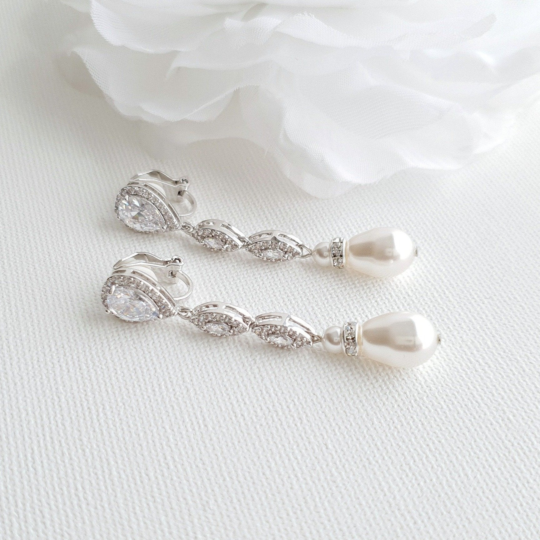 Pearl Drop Clip On Earrings in Silver-Abby - PoetryDesigns
