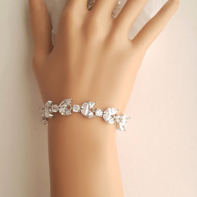 Cubic Zirconia Wedding Day Bracelet-Mia