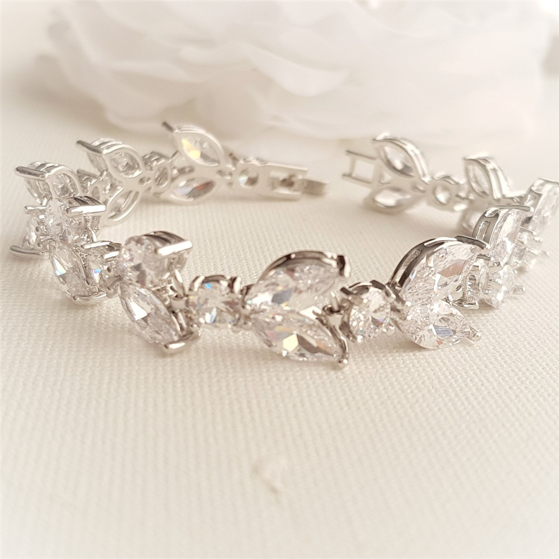 Cubic Zirconia Wedding Day Bracelet-Mia - PoetryDesigns