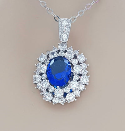 Sapphire Blue Oval Necklace Pendant- Indi