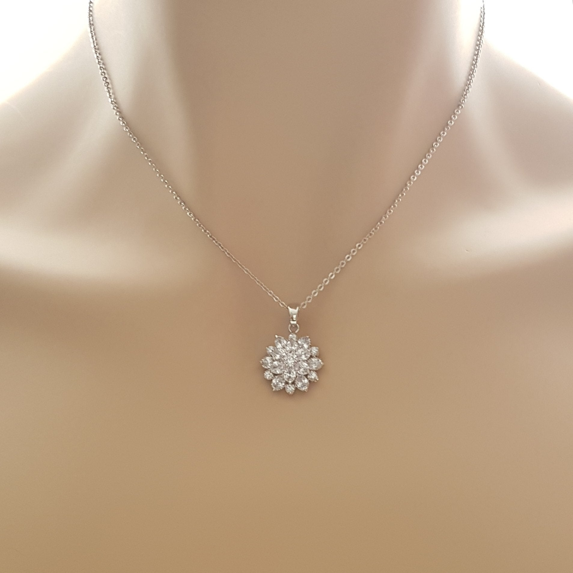 Flower Pendant Necklace in Silver-Floret - PoetryDesigns