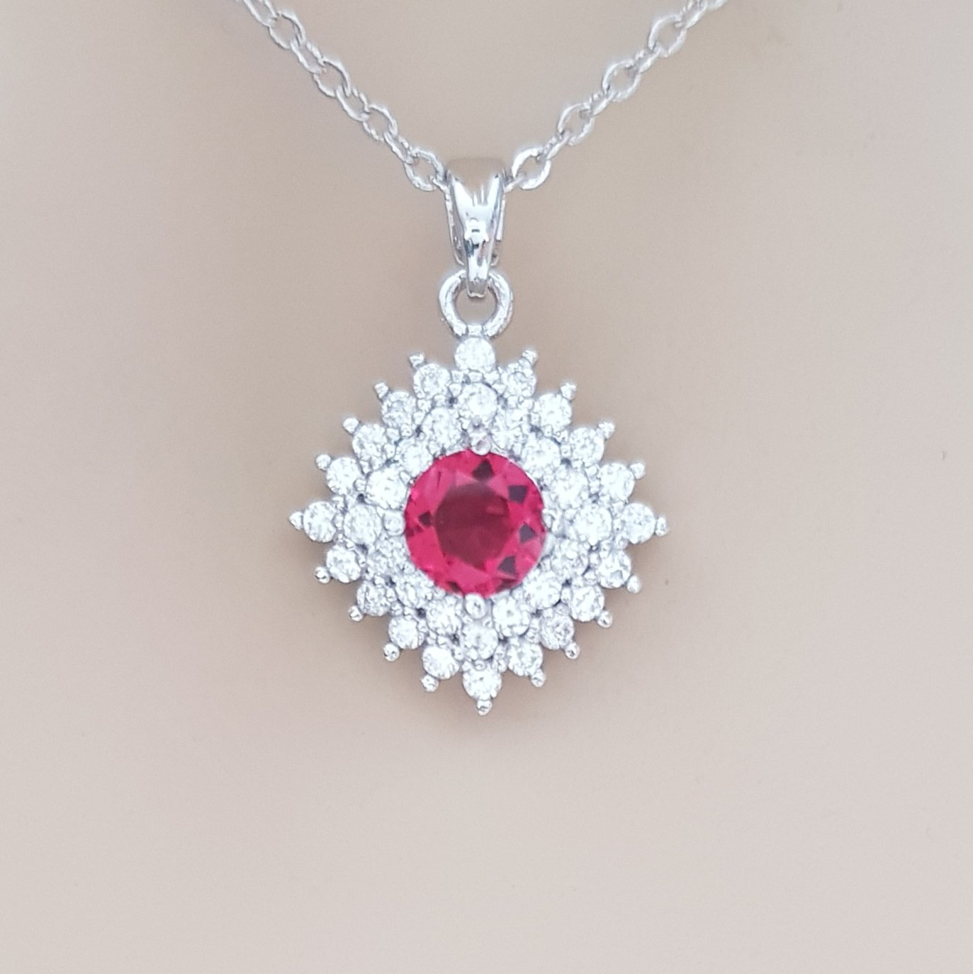 Red Pendant Necklace- Bright Red - PoetryDesigns