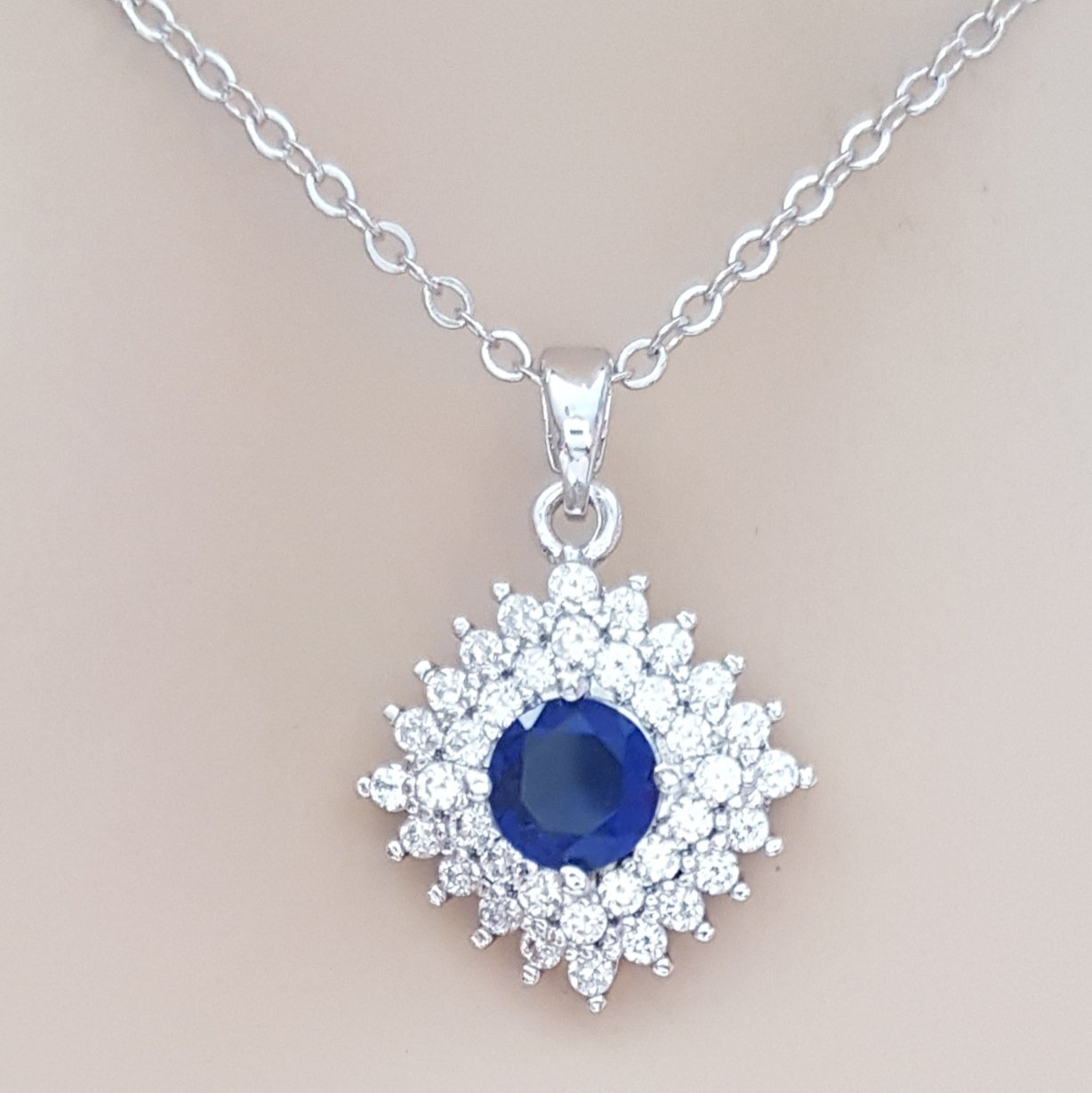 Blue and Silver Rhombus Pendant- Bright Blue
