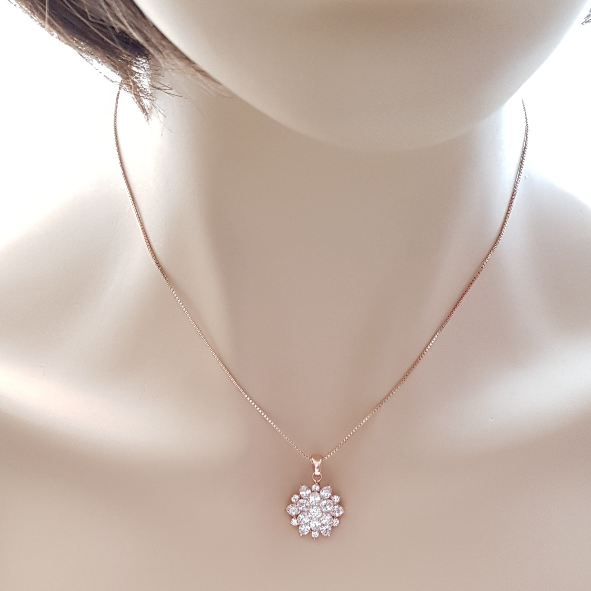 Rose Gold Flower Pendant-Floret - PoetryDesigns