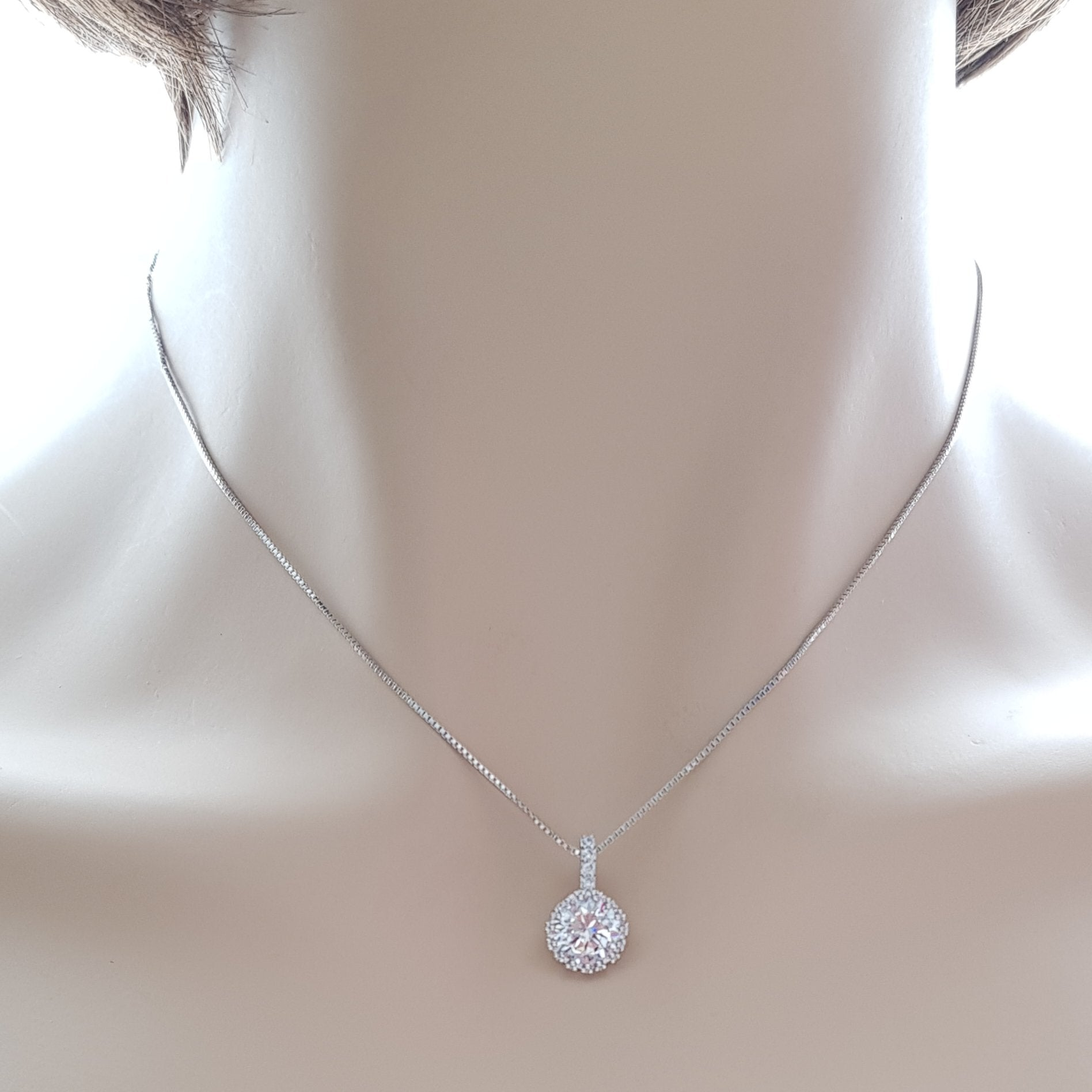 Round Cubic Zirconia Pendant Necklace- Circle - PoetryDesigns