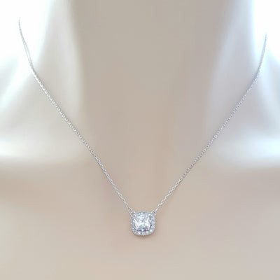 Silver Square Cubic Zirconia Pendant-Azure Clear