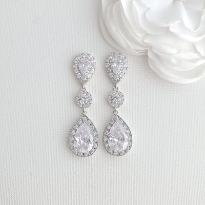 Teardrop Cubic Zirconia Rose Gold Bridal Earrings-Penelope