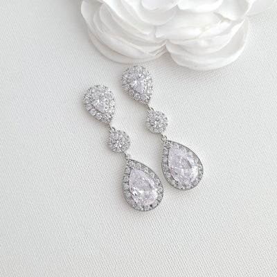 Big Wedding Earrings with Large CZ Teardrops-Penelope
