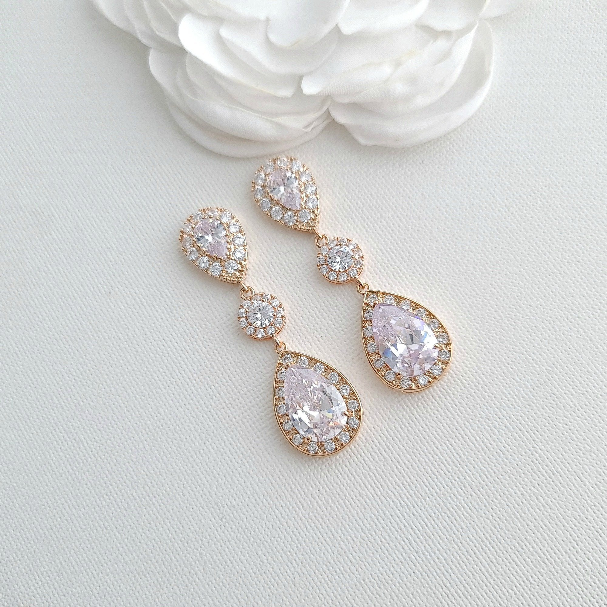 Teardrop Cubic Zirconia Rose Gold Bridal Earrings-Penelope - PoetryDesigns