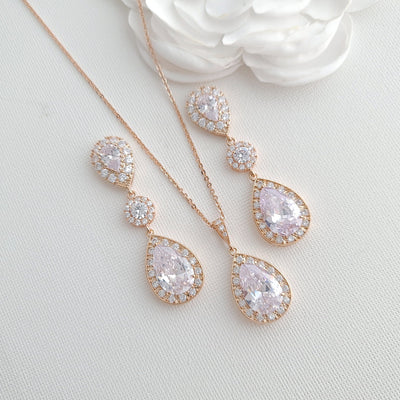 Rose Gold Wedding Jewelry Set for Brides- Penelope