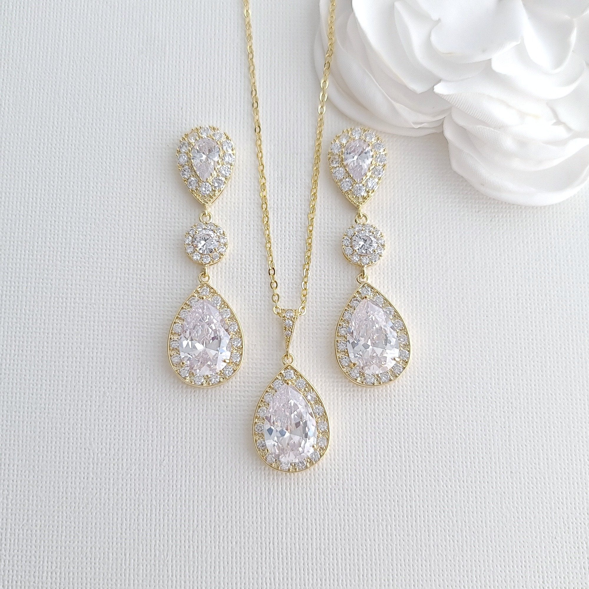 Gold Wedding Jewelry Sets for Brides With Earrings Necklace Together- Penelope - PoetryDesigns