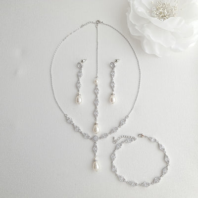 Rose Gold Back Jewelry Set with Necklace Bracelet Earrings for Weddings-Hayley